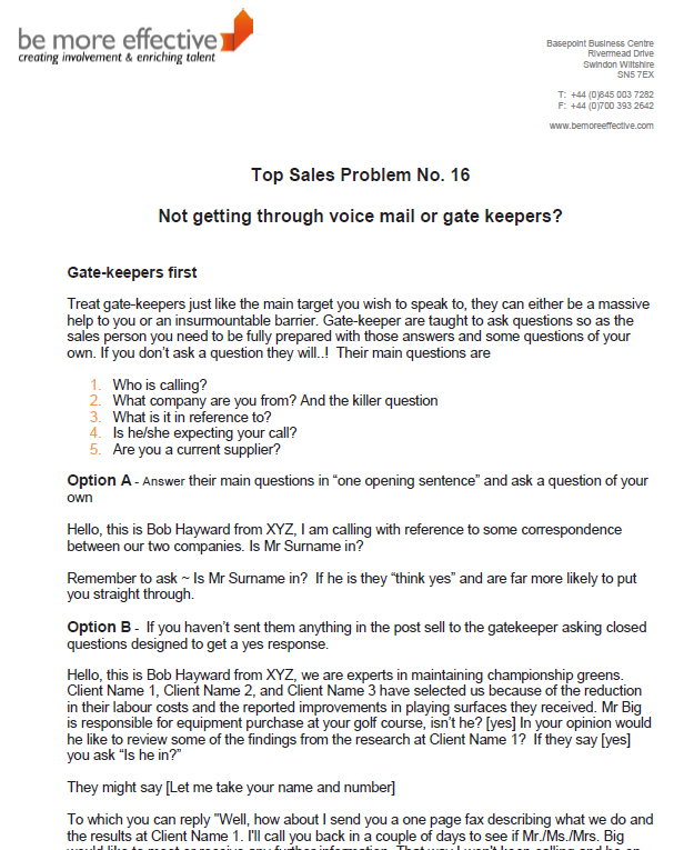 How to get through voice mail or gate keepers