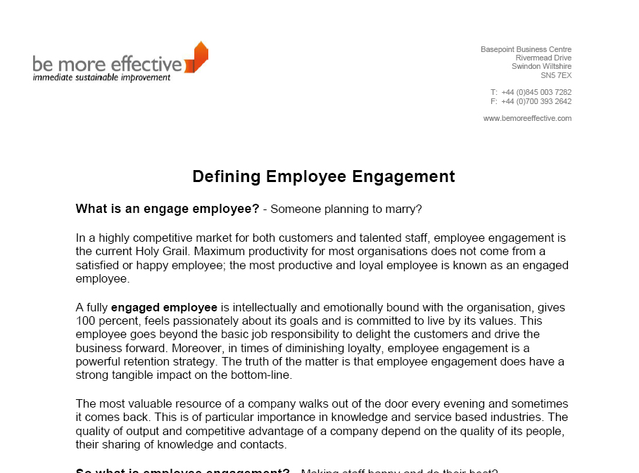 Defining Employee Engagement