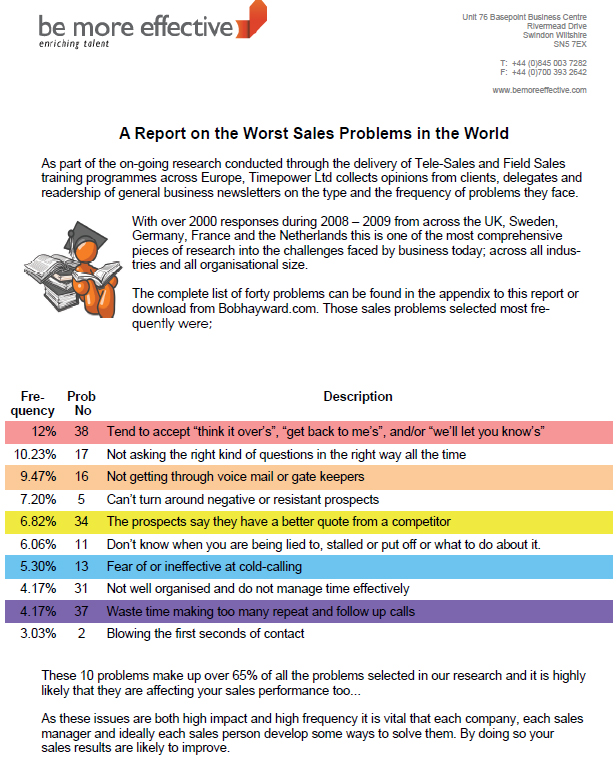 A Report on the Worst Sales Problems in the World