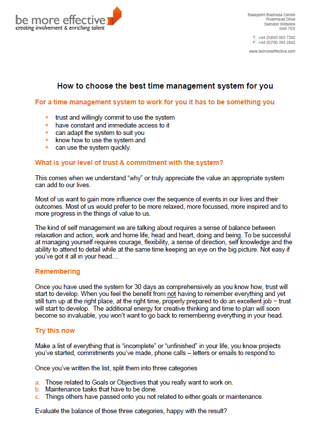How to choose the best time management system for you - Free Stuff