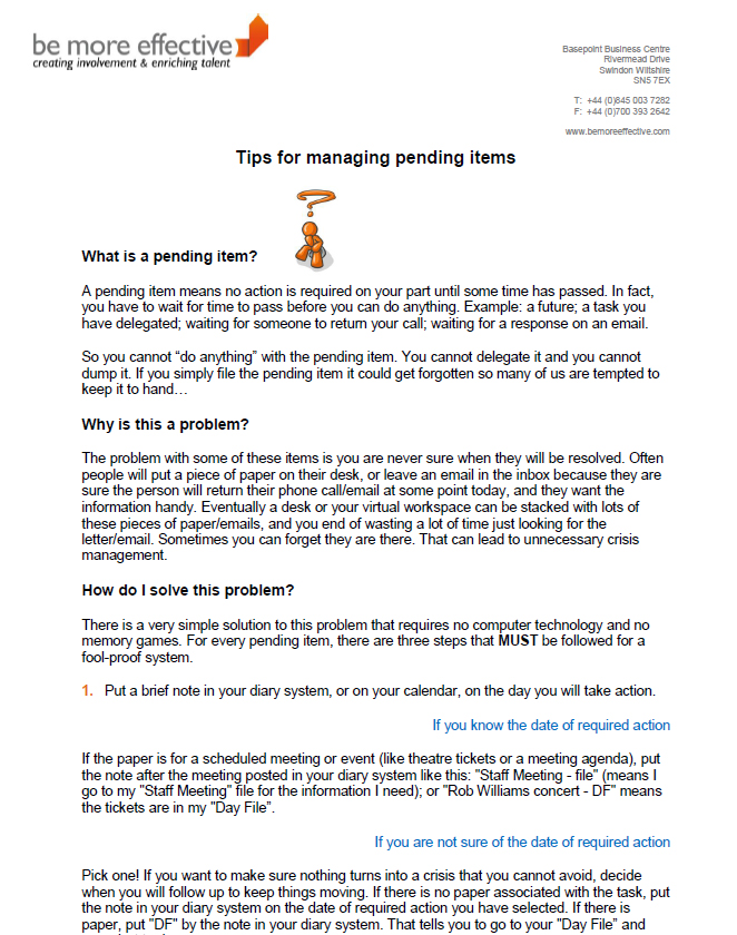 Tips for managing pending items